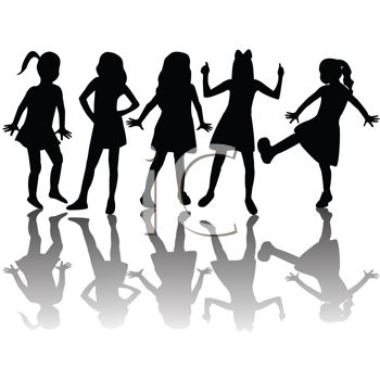Silhouetted Adolescent Girls