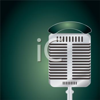 Old Fashioned Microphone on a Green Background