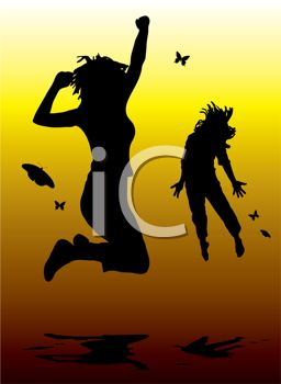 Women Jumping with Excitement in Silhouette