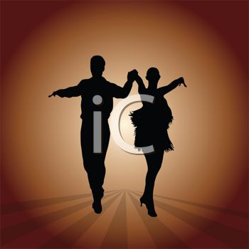 This silhouette of a couple dancing clipart image can be licensed as part