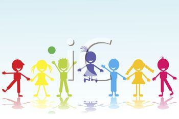 Various Colored Silhouettes of Boys and Girls Holding Hands