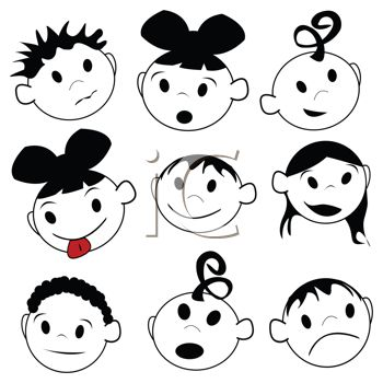 "This ""set of children's faces in with different emotions"" clipart image is"