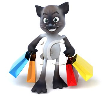 3D Siamese Cat Holding Shopping Bags