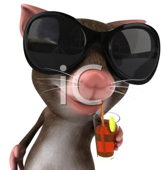 3D Mouse Sipping a Cocktail on Vacation