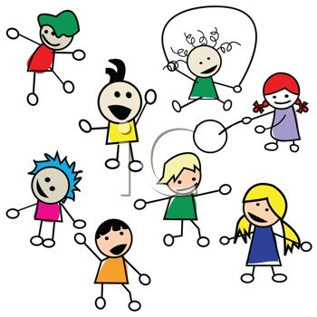 Stick Figures of Preschool Kids Playing