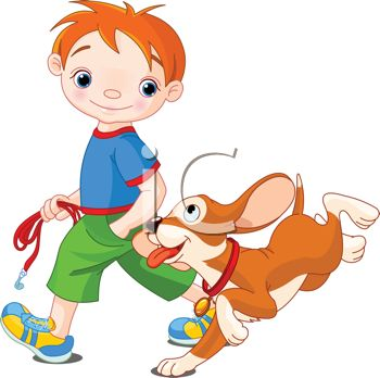 Happy Dog Being Walked by His Master - Royalty Free Clip Art Image