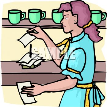 Waitress in a Diner - Royalty Free Clipart Image