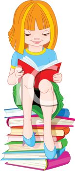 Young Girl Sitting on a Stack of Books Reading