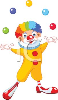Cartoon of a Happy Clown with Rainbow Hair Juggling Balls