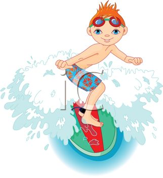 Red Haired Boy Riding a Surfboard