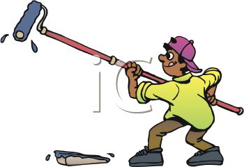 Ethnic Boy Using A Roller To Paint A Wall Royalty Free Clip Art
