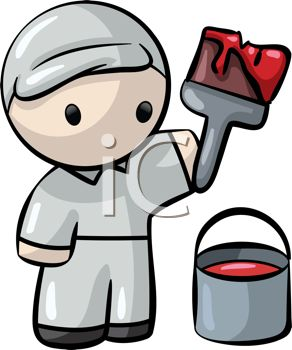 Royalty Free Clipart Image: Cute Little Man House Painter