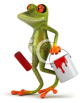 3D Frog Carrying a Can of Paint and a Roller
