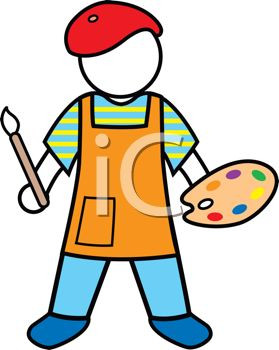 ... Faceless Artist Holding a Paint Palette - Royalty Free Clipart Image