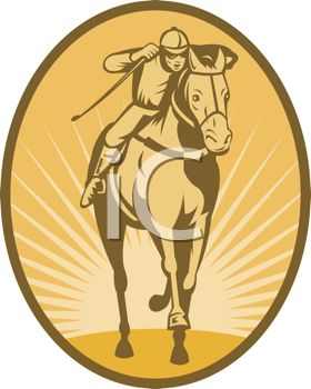 Vintage Icon of a Jockey on a Horse