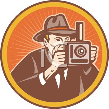 Vintage Newspaperman Taking a Photo