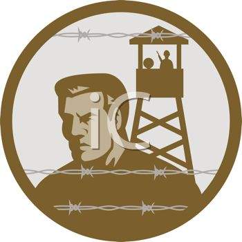 Man in a Prison Camp Looking Out Through Barbed Wire