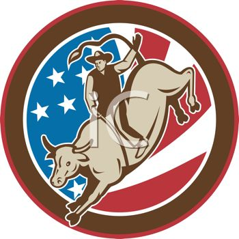 This retro bull rider icon clip art image is available as part of