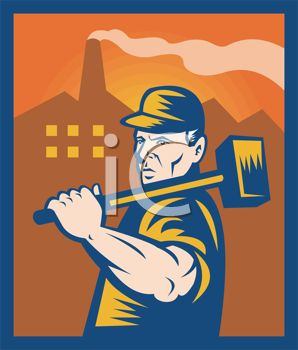 Vintage Icon for a Factory Worker Holding a Sledgehammer
