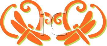 Insect Icon Design of a Pair of Dragonflies in Orange