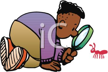 African American Good Examining an Ant with a Magnifying Glass