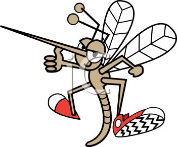 Cartoon Mosquito Wearing Tennis Shoes Giving a Thumbs Up