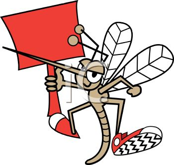 Cartoon Mosquito Wearing Tennis Shoes Holding a Blank Sign
