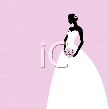 This silhouetted bride in her gown on a pink background clipart image is