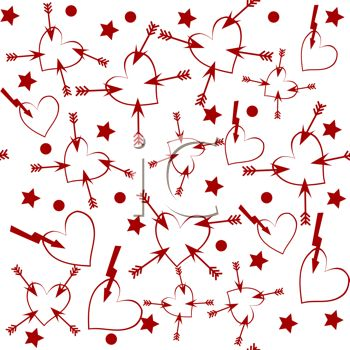 St Valentine's Day Background of Red Hearts with Arrows on a White Background