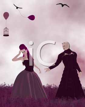 Gothic Couple Standing in a Field with Ravens