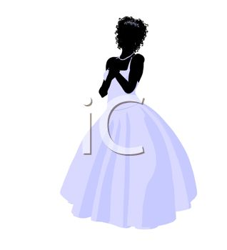 Silhouette of a Bride with Her Hands Clasped in Front of Her