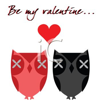 Owls In Love with Be My Valentine Text