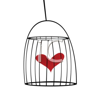 Royalty Free Clip Art Image: Heart Inside a Bird Cage