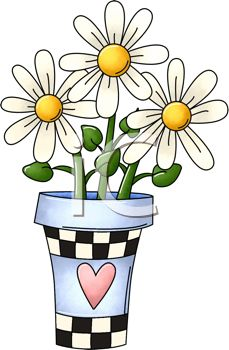 Daisies in a Checkered Pot