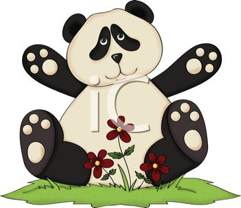 Rustic Panda Bear Sitting in Grass with Flowers
