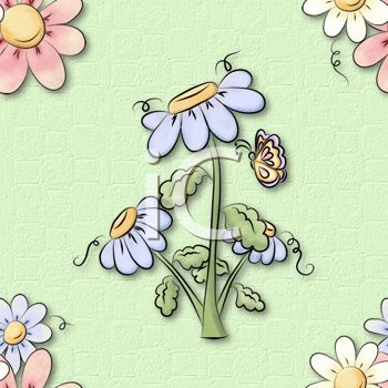 Whimsical Daisies or Wildflowers Background Pattern