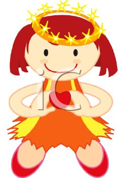 Cartoon Girl Holding a Heart with a Golden Crown on Her Head