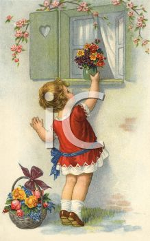Vintage Little Girl with Flower Bouquets