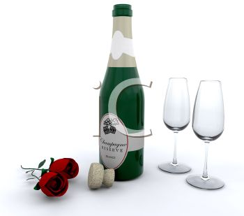 Open Bottle of Champagne with Fluted Glasses and Roses