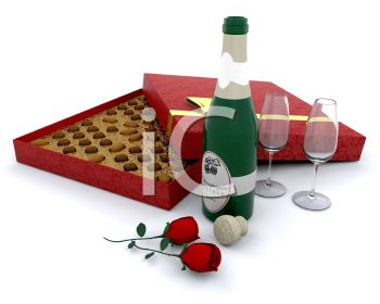 A Box of Valentine Chocolates with Champagne and Roses