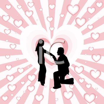 Silhouette of a Man Proposing on One Knee