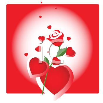 clipart hearts and roses. Hearts and a Red Rose