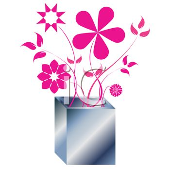 Spindly Pink Flowers in a Square Metal Vase
