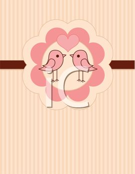 Cute Little Lovebirds on a Pink and Brown Striped Background