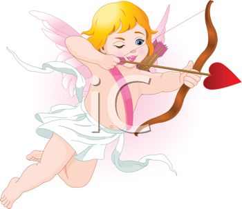Golden Haired Cupid Shooting a Heart Shaped Arrow