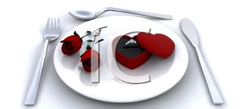 Valentine Meal for a Proposal with a Ring and Roses