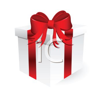 White Gift Box Tied With A Red Ribbon Royalty Free Clip