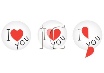 Set of I Love You Stickers or Decals