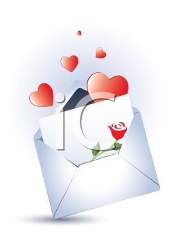 Valentine's Day Card in an Envelope with Hearts and a Rose