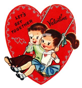 Retro Valentine's Day Card with a Boy and Girl on a Swing